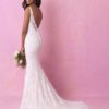 Buy Sell Wedding Dress Online Dubai UAE Brand New Allure Bridals Style 3150 sheath gown with V-Neckline. Ivory coloured lace fabric, Size US 6, M