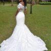 Buy Sell Wedding Dress Online Dubai UAE White Lace Intuzuri FitandFlare dress, Size S